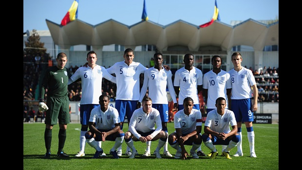 England Under-21s line up v Romania