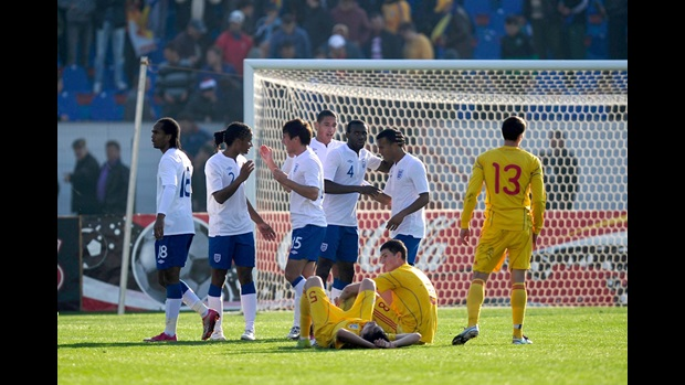 England U21s celebrate reaching Euro 2011