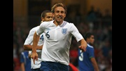 Craig Dawson celebrates his debut goal for England.