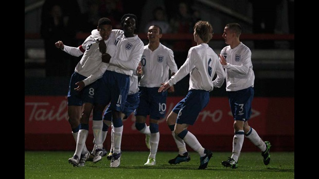 England's players celebrate skipper Ruben Loftus-Cheek's goal against Wales.