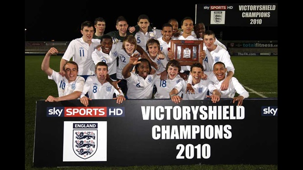 England lift the Victory Shield.