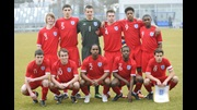 The England U16 team pose for a photograph ahead of their match against Slovenia in Koper.