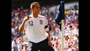 Jack Rodwell celebrates his goal for the U16s against Spain at Wembley in April 2007.