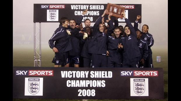 England U16s lift the 2008 Victory Shield.