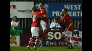 Declan John (No.11) celebrates one of his two successful penalties against England in the Victory Shield.