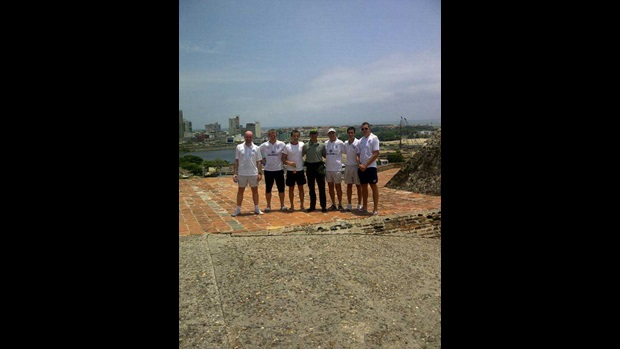The England U20s staff at the Castillo San Felipe De Barajas.