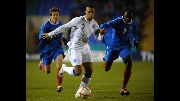 Matt Phillips in action against France at Shrewsbury.