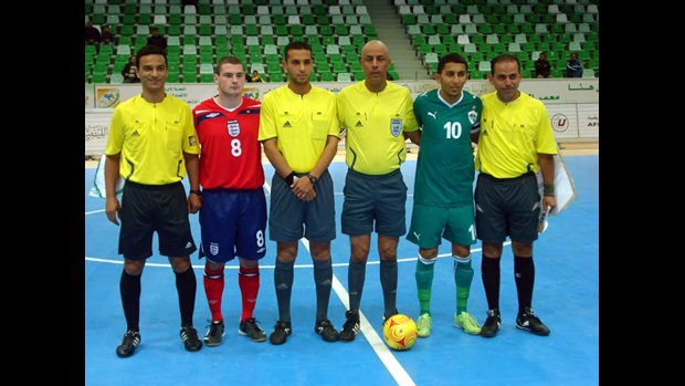 England line up against the African Futsal Champions in Tripoli.