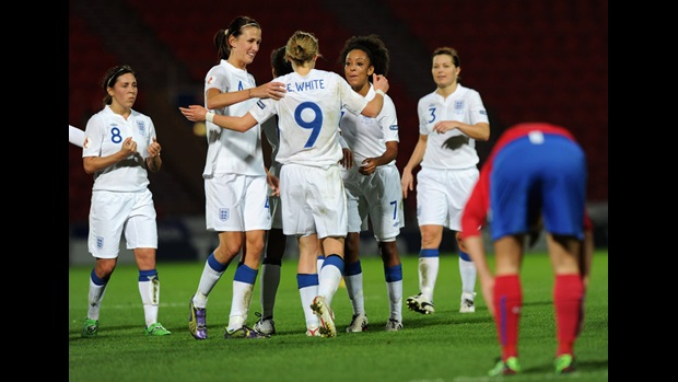 (left-right) Fara Williams, Jill Scott, Jess Clarke and Rachel Unitt congratulate Ellen White (No.9) on her goal against Serbia at Doncaster Rovers' Keepmoat Stadium.