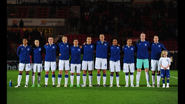 England Women line up ahead of their Euro 2013 qualifier against Serbia.