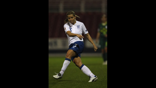 Rachel Unitt in UEFA Euro 2013 qualifying action against Slovenia.