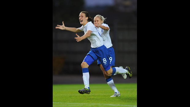 Jill Scott (left) celebrates after scoring the opening goal against Sweden at Oxford United's Kassam Stadium.