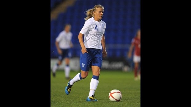 Katie Chapman in action for England against Switzerland.