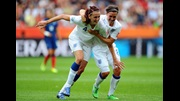 Jill Scott celebrates her goal against France