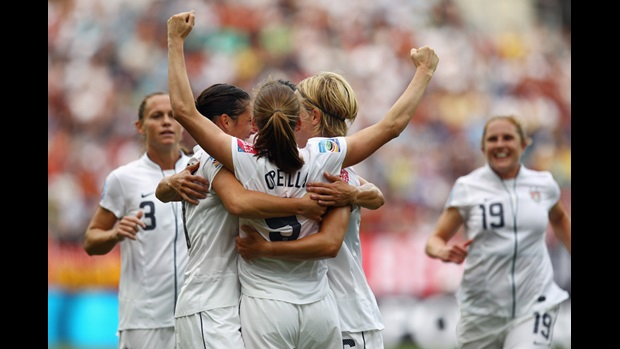 Heather O'Reilly celebrates scoring the opening goal for USA against Colombia in the FIFA Women's World Cup.