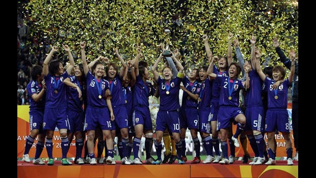 Japan lift the FIFA Women's World Cup in Frankfurt.