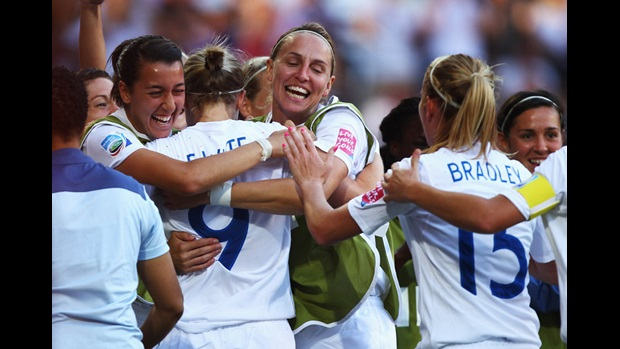 England players celebrate Ellen White's goal against Japan in the FIFA Women's World Cup 2011.