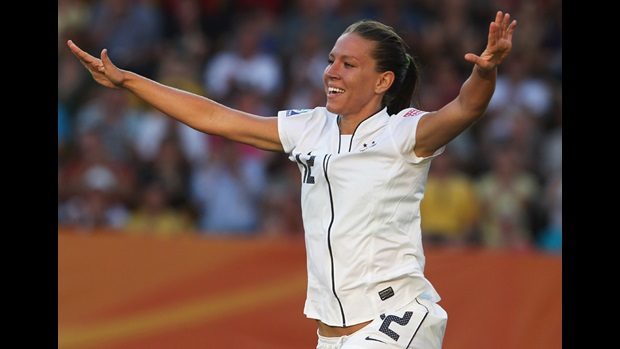 USA's Lauren Cheney celebrates her goal against North Korea in the FIFA Women's World Cup.