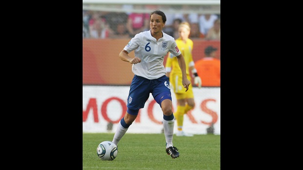 Casey Stoney in action for England.