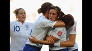 Fara Williams (third from left) is congratulated by Kelly Smith, Casey Stoney and Jill Scott after opening the scoring against Mexico.