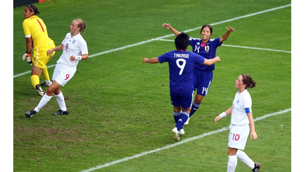 Japan celebrate their opening goal against England.