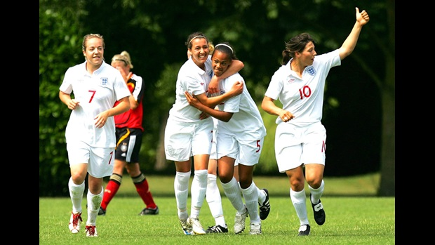 England U23 players celebrate a goal.