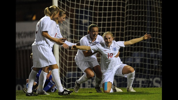 Isobel Christiansen (No.10) celebrates after scoring against Slovakia.