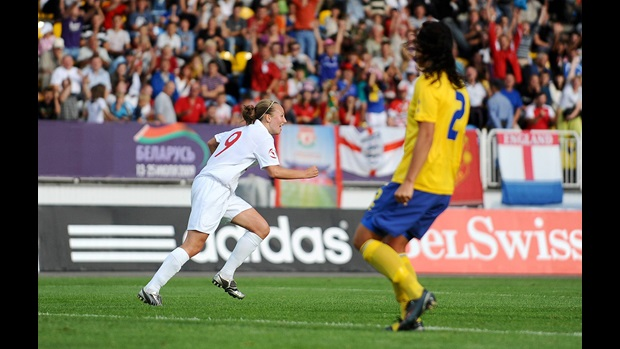 Toni Duggan wheels away in delight after giving England the lead in the European Championship Final (image courtesy of Sportsfile).