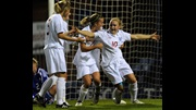 Isobel Christiansen celebrates against Slovakia