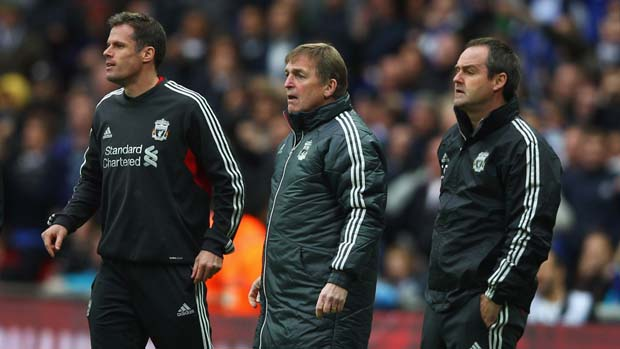 Jamie Carragher stands with Kenny Dalglish and Steve Clarke.