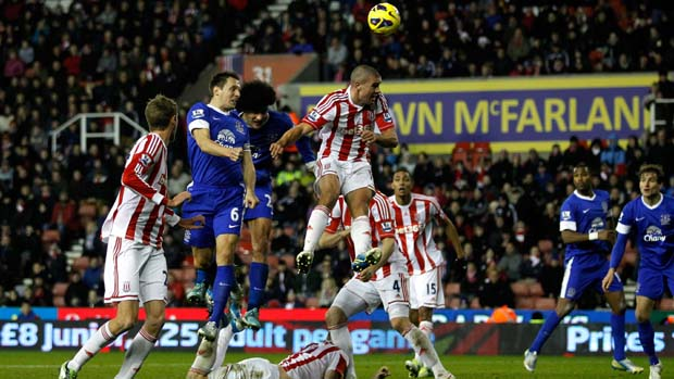 Everton in attack against Stoke City at the Britannia Stadium.