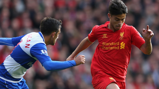Liverpool youngster Suso in action against Reading