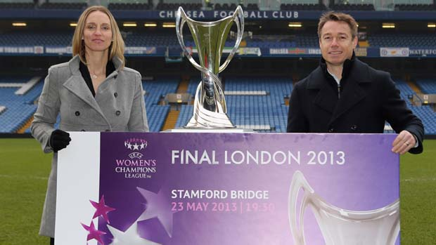 Faye White and Graeme Le Saux launch the 2013 UEFA Women's Champions League Final tickets at Stamford Bridge.
