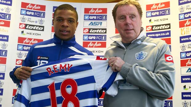 QPR boss Harry Redknapp welcomes Loic Remy to the club in January 2013.