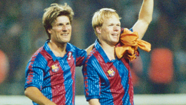 Michael Laudrup celebrates with Barcelona team mate Ronald Koeman