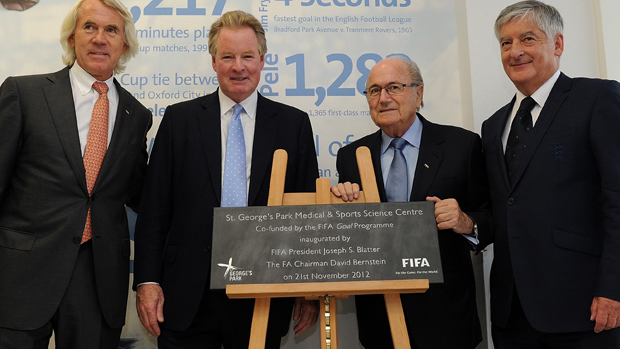 FIFA President Sepp Blatter (third from left) during a visit to St. George's Park in November 2012