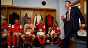Stuart Pearce (right) addresses the Army FA team in the dressing room at Madejski Stadium