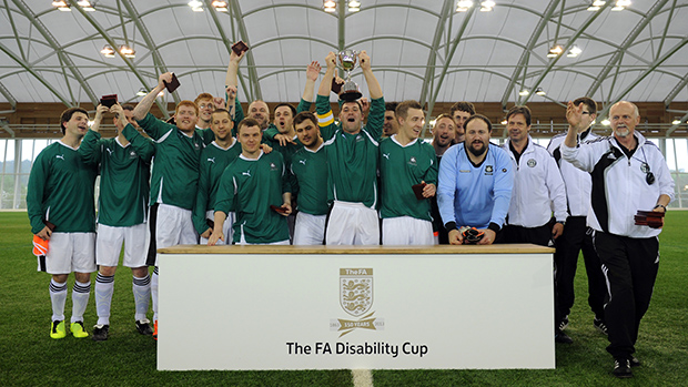Plymouth Argyle disability team lifting the first ever FA Disability Cup