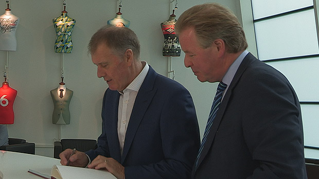 Sir Geoff Hurst with St. George's Park chairman David Sheepshanks