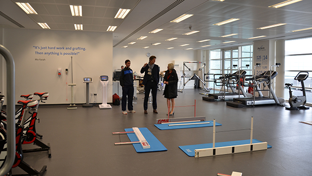 Edwin van der Sar shown the Human Performance Lab at St. George's Park
