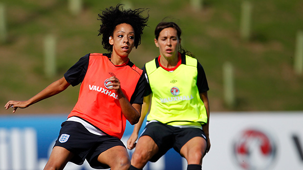 Jess Clarke and Fara Williams train at St. George's Park