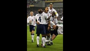 Rio Ferdinand celebrates his goal against Denmark in 2002.